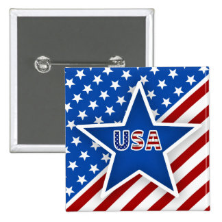 4th of July Flag - Blue Star/USA 2 Inch Square Button