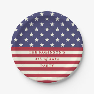 4th of July Flag Patriotic Stars Stripes | Custom 7 Inch Paper Plate