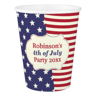 4th of July Flag Patriotic Stars Stripes | Custom Paper Cup