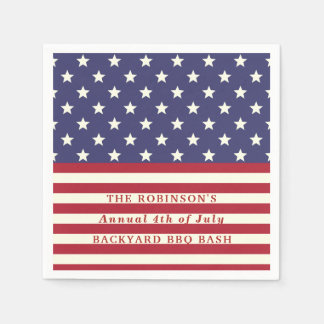 4th of July Flag Patriotic Stars Stripes | Custom Paper Napkins
