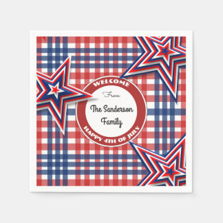 4th Of July Gingham Personalized Paper Napkins