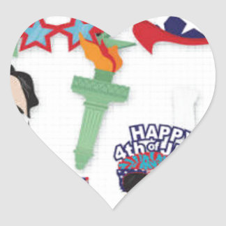 4th of July holiday - Independence Day Heart Sticker