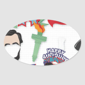 4th of July holiday - Independence Day Oval Sticker
