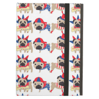 4th of July Independece Day Pugs iPad Air Covers