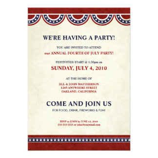 4th of July Independence Day Party Invitations