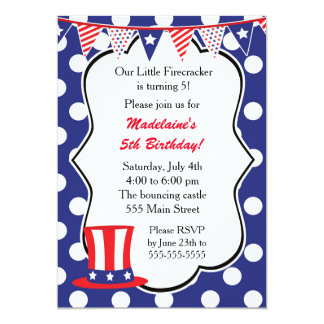 4th of July Invitation Kids Birthday Party