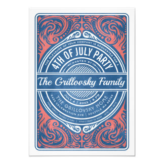 4th of July Invitations BBQ Red White & Blue