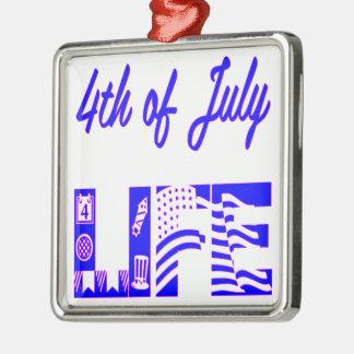 4th Of July Life FB.com/USAPatriotGraphics © Silver-Colored Square Ornament