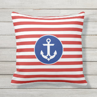 4th of July Nautical Anchor Striped Throw Pillow