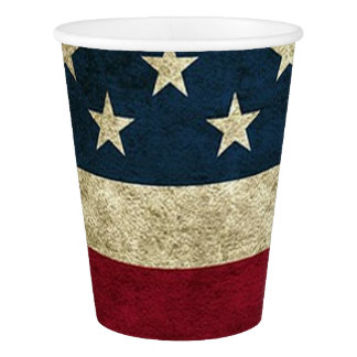 4th of July Party  American Flag Rustic Paper Cups