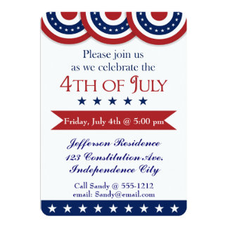 4th of July party invitation customizable