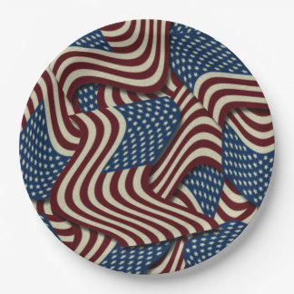 4TH Of July Party Red White And Blue American Flag 9 Inch Paper Plate