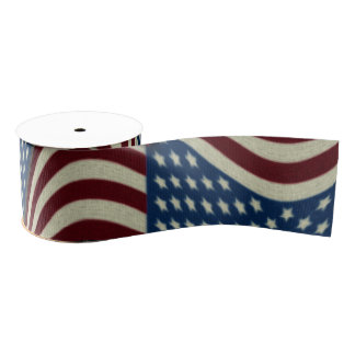 4TH Of July Party Red White And Blue American Flag Grosgrain Ribbon
