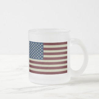 4TH Of July Party Red White And Blue American Flag Frosted Glass Mug