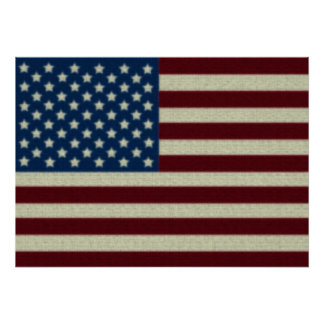 4TH Of July Party Red White And Blue American Flag Poster