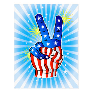 4th of July - Patriotic American-Victory & Peace Post Card