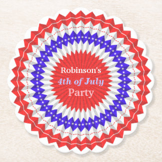 4th of July Patriotic Red White Blue Banner Custom Paper Coaster