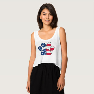4th of July Patriotic Stars and Stripes Paw Print Tank Top