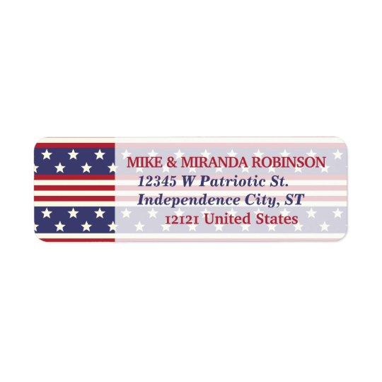 4th of July Patriotic Stars and Stripes USA Flag Return Address Label