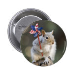4th of July Patriotic US Squirrel 2 Inch Round Button