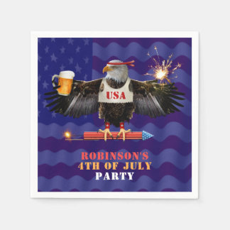 4th of July Patriotic USA Eagle Beer and Fireworks Disposable Napkins