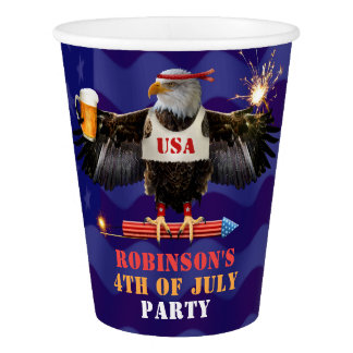 4th of July Patriotic USA Eagle Beer and Fireworks Paper Cup