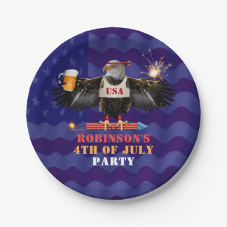 4th of July Patriotic USA Eagle Beer and Fireworks Paper Plate