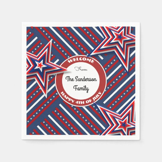 4th Of July Personalized Paper Napkins