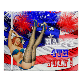 4th of July Pin Up Girl Poster