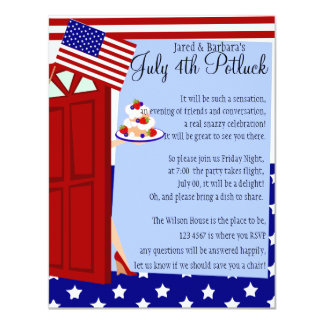 """4th of July Potluck Party 4.25"""" X 5.5"""" Invitation Card"""