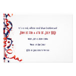 4th of July Red White and Blue Ribbons and Stars Personalized Invites