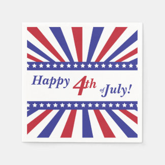 4th of July Red White Blue Stars and Stripes Paper Napkin