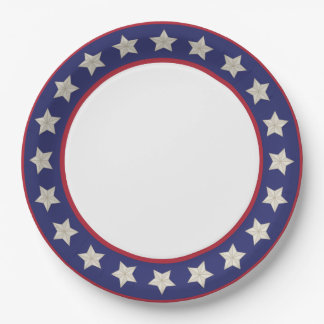 4th of July Red, White, & Blue with Stars Paper Plate