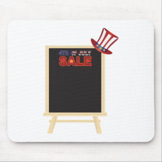 4th of July SALE sign board with Hat Illustration Mouse Pad