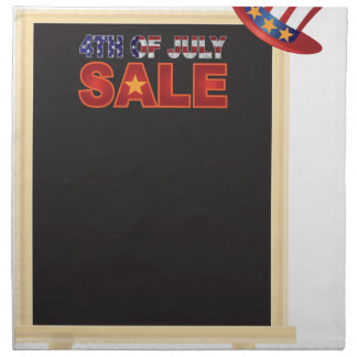 4th of July SALE sign board with Hat Illustration Napkin