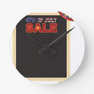 4th of July SALE sign board with Hat Illustration Round Clock