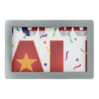 4th of July Sale Text with US Flag Confetti Belt Buckles