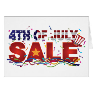 4th of July Sale Text with US Flag Confetti Card