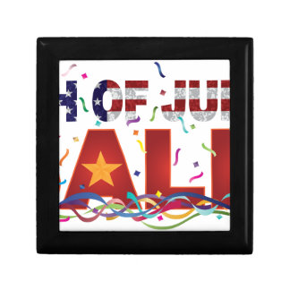 4th of July Sale Text with US Flag Confetti Gift Box