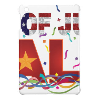 4th of July Sale Text with US Flag Confetti iPad Mini Cases