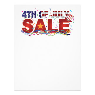 4th of July Sale Text with US Flag Confetti Letterhead