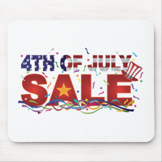 4th of July Sale Text with US Flag Confetti Mouse Pad
