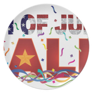 4th of July Sale Text with US Flag Confetti Plates