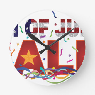 4th of July Sale Text with US Flag Confetti Round Clock