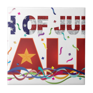 4th of July Sale Text with US Flag Confetti Tile