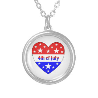 4th of July Silver Plated Necklace