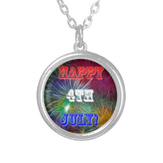 4th Of July. Silver Plated Necklace