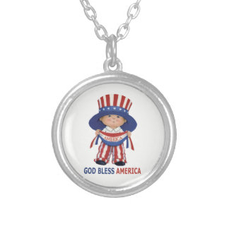 "4th Of July Silver Plated Necklace"" Silver Plated Necklace"