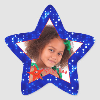 4th of July Smiling Star Photo Star Sticker
