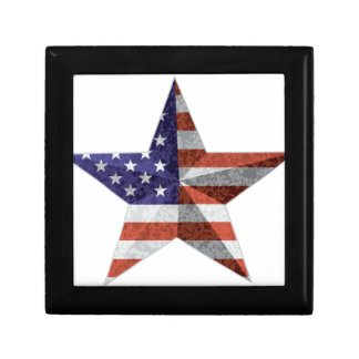 4th of July Star Outline with USA Flag Texture Gift Box